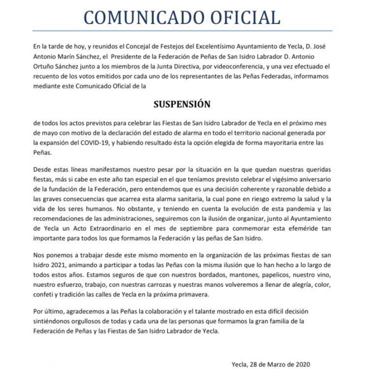 LA FEDERACIÓN DE PEÑAS SUSPENDE LAS FIESTAS DE SAN ISIDRO 2020